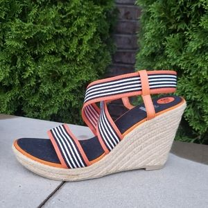 IMPO Stretch Striped Strappy Wedges Size 9.5